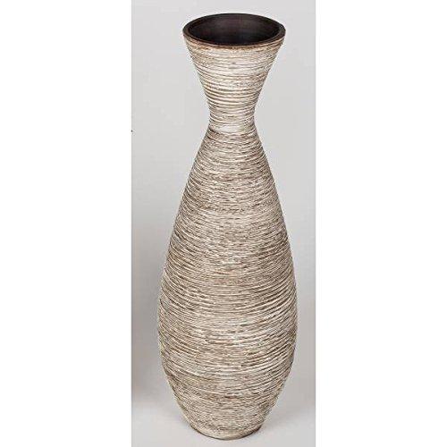 Formano Deko Bodenvase STREIFEN H. 80cm creme braun Trichterform Keramik