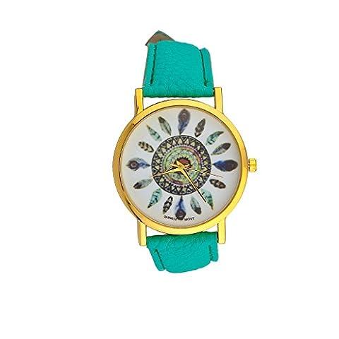 Lux Accessories Turquoise Tribal Dreamcatcher Leaf Feather Bracelet Analog Sports Quartz Wrist