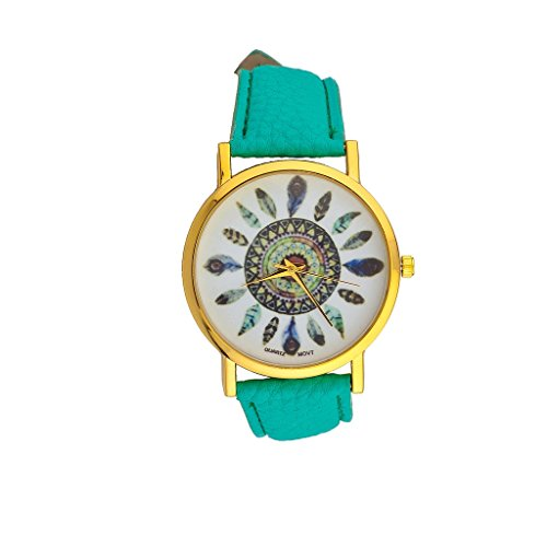 lux-accessories-turquoise-tribal-dreamcatcher-leaf-feather-bracelet-analog-sports-quartz-wrist-watch