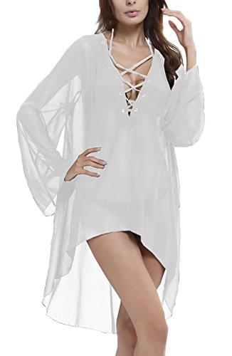 Femme Robe De Plage Casual Vintage Sans Manches Summer Plage Robe Tunique Robes D'Été Classiques Chic Transparente Robes Casual Blanc
