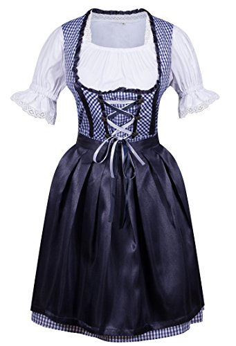 HIMONE Damen Dirndl 3 tlg.Trachtenkleid Kleid Trachtenkleid Set, Kleid mit Bluse und Schürze ()