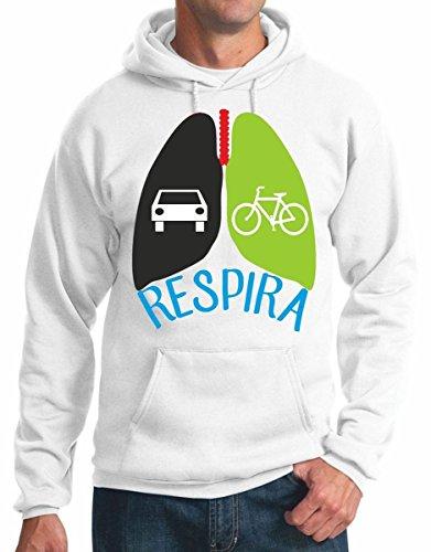 felpa con cappuccio ecologia no smog - amore per la bicicletta - Respira salute pedalare - car bike S M L XL XXL maglietta by tshirteria bianco