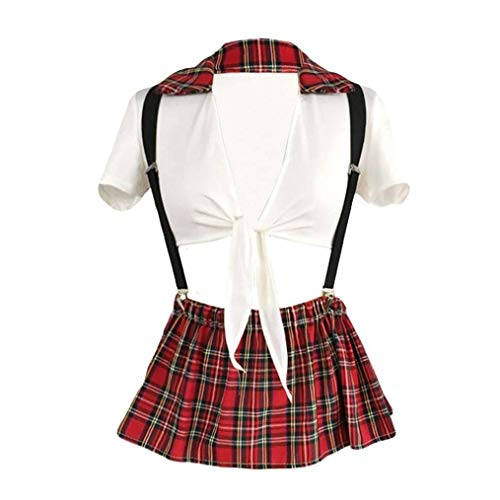Damen Erotik Unterwäsche Student Style Fliege Plaid Print Uniform Dessous Ansprechende Pyjamas Schulmädchen Matrosen Kostüm Reizwäsche (Color : Rot, Size : M)