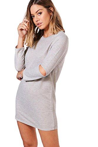 Damen Grau Marl Petite Nadia Sweatshirt-kleid Mit Geschlitzten Ärmeln Grau Marl