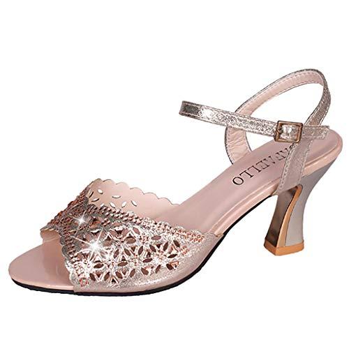 hahashop2 Sandalen Damen Sommer Schuhe, Frauen Casual Sandalen in der Luft mit Stiletto-Schnalle Sandalen -