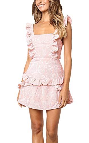 Angashion Damen Sommerkleid Rüschen Strandkleider Spaghetti A line Abendkleid Blumenmuster Rückenfrei Minikleid Pink S A-line Spaghetti