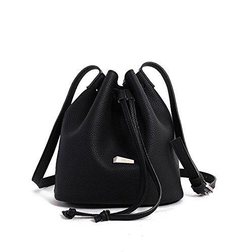 HQYSS Damen-handtaschen Frauen-Weinlese PU-lederne Schulter-Kurier-Beutel-beiläufige justierbare Daypacks Knödel-Form-Beutel black