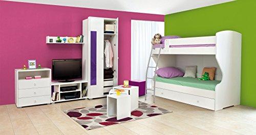 Jugendzimmer Komplett - Set U Gabriel, 7-teilig, Farbe: Weiß/Lila (18 Tiefe Unterschränke)