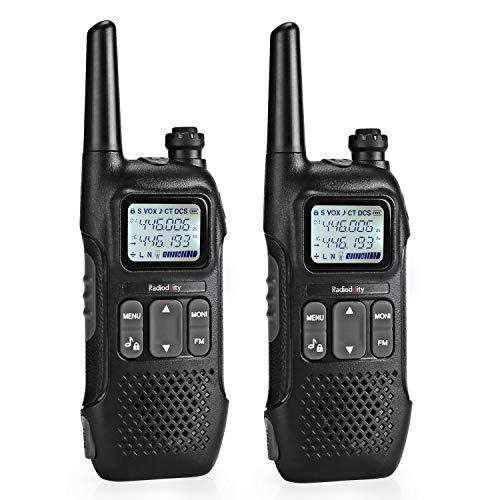 Radioddity PR-T1 PMR Funkgerät Set mit LC-Display, Walkie Talkie 4KM Reichweite, 16 Kanäle PMR446 Lizenzfrei Wiederaufladbar mit USB Ladekabel, 2 Stücke