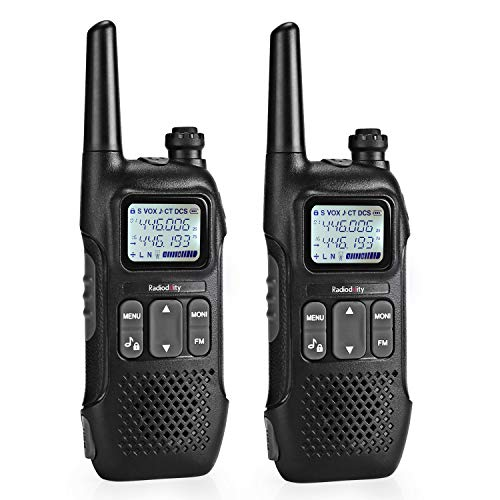 Radioddity PR-T1 PMR Funkgerät mit LC-Display, 16 Kanäle PMR446 Lizenzfreies Walkie Talkie Set mit USB Ladekabel, 2 Stücke