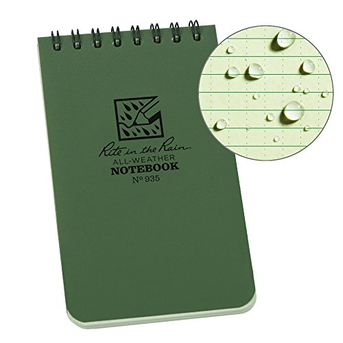 Rite In The Rain Universal Pocket Top Spiralen-Notizbuch - Grün/Grün, 7,6 x 12,7 cm, Pocket Notebook, Green/Green