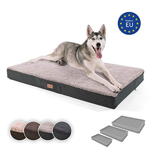 brunolie Balu extra großes Hundebett in Grau, waschbar, orthopädisch und rutschfest, kuscheliges Hundekissen mit atmungsaktivem Memory-Schaum, Größe XL (120 x 72 x 10 cm)