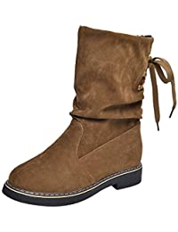 Beikoard Mujeres Damas Invierno Shoes Mid-Becerro Botas De Nieve Calzado Zapatos Calientes,Polar Botas De Nieve Caliente Shoes Botas Mid-Tubo Botas De Algodón Zapatos
