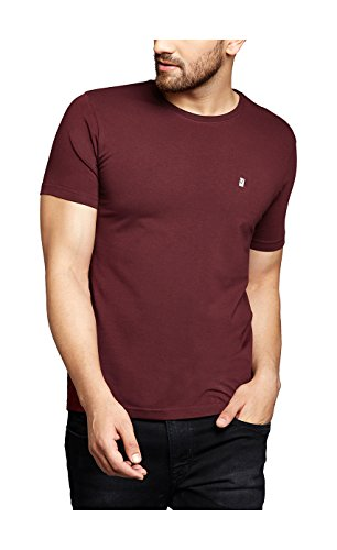 TURMS Men's Cotton Stain Repellent and Odour-free Round Neck T-Shirt (Majestic Maroon, Medium)