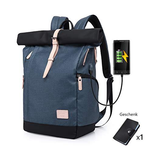 127f84fdc3879b Cornasee Zaino porta PC 15.6 pollici per uomo e donna,Grandi zaini  impermeabili antifurto, Borsa per scuola con porta USB,Blu