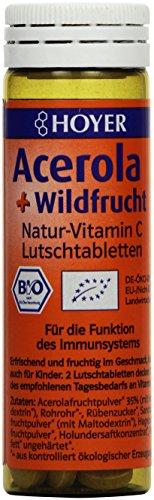 Hoyer Acerola & Wildfrucht Lutschtabletten 60 Stück in einer Packung, 1er Pack (1 x 30 g) - Bio