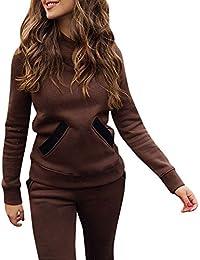 Millenniums Costume Sportif Survêtement avec Poche Sweat-Shirt à Capuche + Pantalon Ensemble 2PCS Sport Sportswear pour Yoga et Gymnastique Jogging Suit À Manches Longues