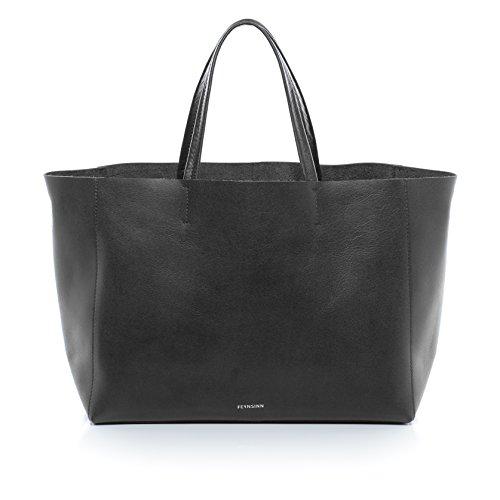 """FEYNSINN® Handtasche mit langen Henkeln JAX - Damen Schultertasche groß Ledertasche fit für 13 """" Zoll Laptop, iPad - Handtasche Damentasche echt Leder anthrazit"""