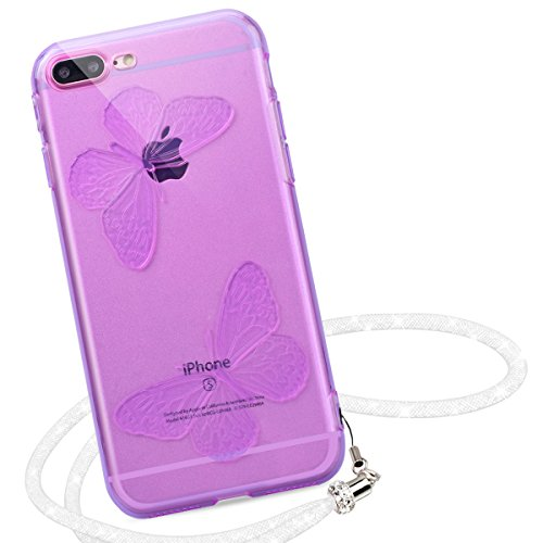 Yokata 2 x iPhone 7 Hülle Transparent Weich Silikon Gel Crystal Clear TPU Case Handyhülle Schutzhülle Etui Durchsichtig Ultra Slim Backcover Silicone Bumper Protective Cover für iPhone 7 (4,7 Zoll) Sc Transparent + Lila
