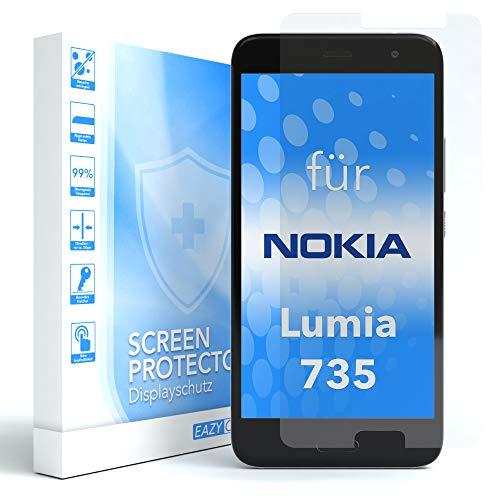 EAZY CASE 1x Panzerglas Bildschirmschutz 9H Härte für Nokia Lumia 735, nur 0,3 mm dick I Schutzglas aus gehärteter 2,5D Panzerglasfolie, Bildschirmschutzglas, Transparent/Kristallklar