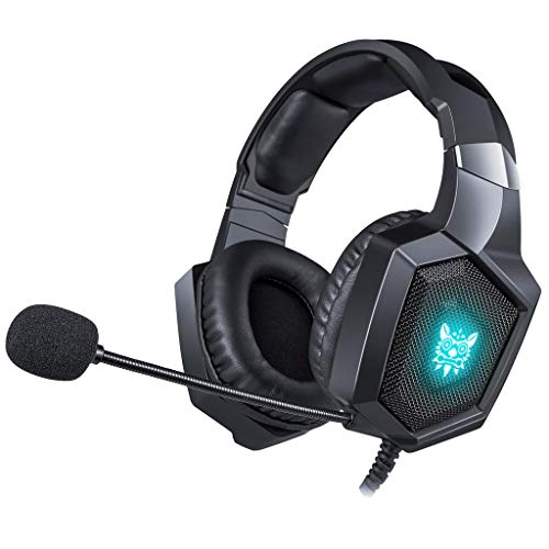 SOYY Gaming Headset PS4, Wired Stereo-Spiel Kopfhörer mit Crystal Clear Sound, LED-Leuchten und Noise-Cancelling-Mikrofon für Playstation 4 Xbox One (Adapter Need) PC Laptop Tablet Mobile Logitech Portable Headset