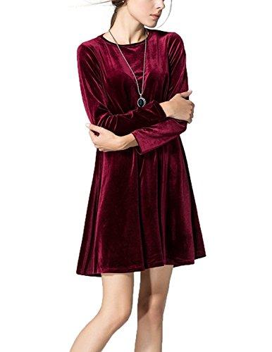 Deargirl - Robe - Trapèze - Manches Longues - Femme rouge vin