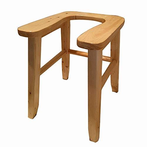 WWJQ U-förmige Holz Toilette Toilettenstühle, Duschhocker tragbares, handpoliert, hochwertiges Zubehör wasserdicht -