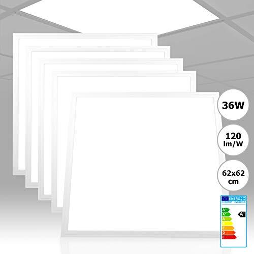 [5 Stück] Xtend LED Panel 62x62 4000K neutralweiß 36W 4320 Lumen sehr effizient 120lm/W nicht dimmbar PMMA ultraslim Rasterleuchte LED 620x620 Serie PLs3.0 E-serie Led