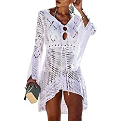 Voqeen Mujer Pareos Playa Traje de Baño Verano Vestido de Playa Sexy Bikini Cover up Camisola de Playa Camisolas y Pareos Ganchillo Túnica de Punto (Blanco)