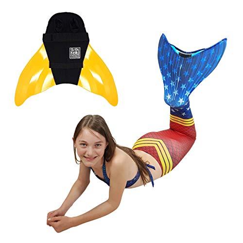 SUN TAILS Premium Meerjungfrauen Flossen Set zum Schwimmen Kostüm Super Sirene Monoflosse Keiki Kinder Nunui Erwachsene L orange