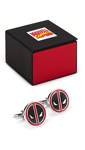 Marvel Comics Deadpool Logo Superheld Silber Manschettenknöpfe–Manschettenknöpfe inkl. Marvel Comics (Superhelden Blonde)