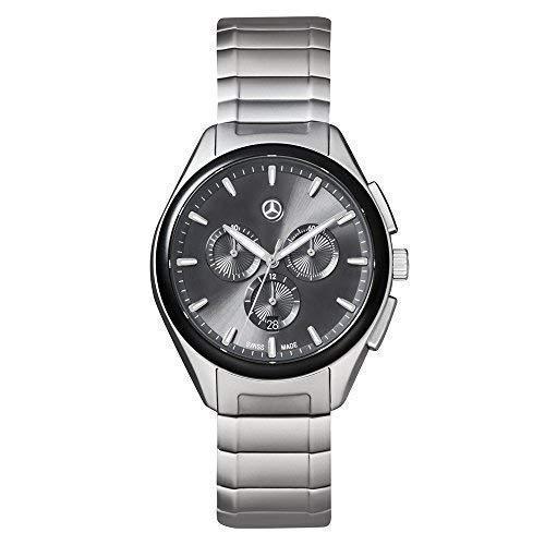 Mercedes Benz Original Hombre Reloj de Pulsera Acero Inox. Business Cronógrafo Plata/Negro