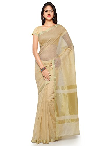 KANCHNAR Cotton Saree With Blouse Piece(228S311_Golden And Beige Free Size)