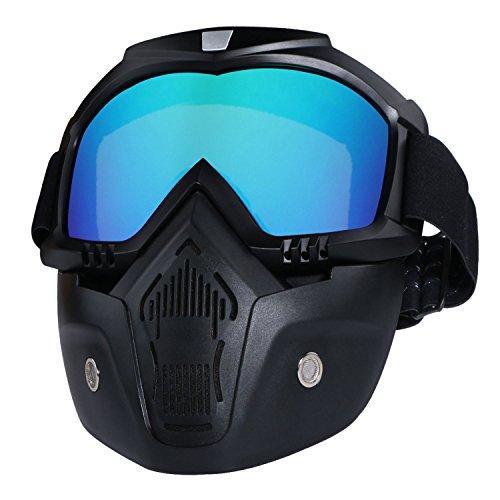 JVSISM Motorradbrille Maske abnehmbar, Harley Style Protect Polster Helm Sonnenbrille bunt