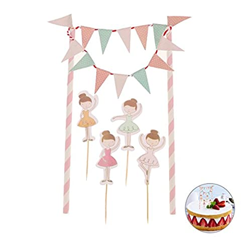 Tinksky Birthday Cake Bunting Banner Toppers Wrappers Kit Decorations Fairy Princess Toppers for Kids Birthday