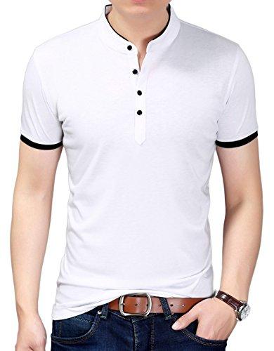 DD UP Herren Casual Slim Fit T-Shirt mit V-Ausschnitt Baumwolle Kurzarmshirt (Reinigungs-services-geschäft)