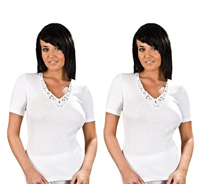 2 Pack Womens 100% Cotton Ultra Comfort Short Sleeve Vest, Various Colours & Sizes