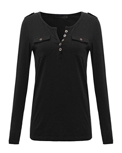 Damen Langarm Tief-V-Ausschnitt T-Shirt Einfarbig Bluse Hemd Slim Oberteil Tops T-shirts Schwarz
