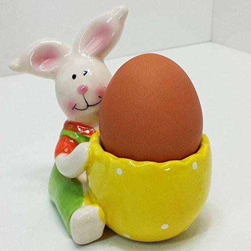 Eierbecher Bunt Keramik Hase Ostern Frühling Osterhase Frühstück Deko Farbig Ei (Keramik-pfanne-halter)