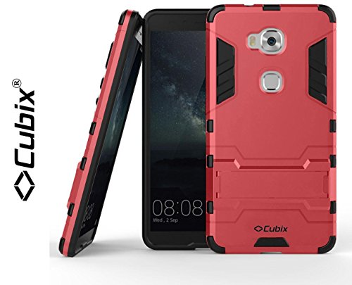 Cubix Robot Case For Huawei Honor 5X Case Back Cover Uv Coated Slim Hybrid Defender Bumper Shock Proof Case Armor Cover With Stand For Huawei Honor 5X Red  available at amazon for Rs.399