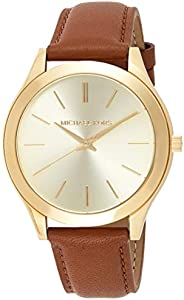 Michael Kors Slim Runway Women's Gold Dial Leather Band Watch - MK