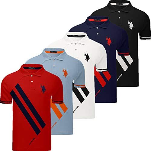 Mens US Polo Assn Polo T-Shirt Diagonal Stripe Short Sleeve Pique Pony Top Horse
