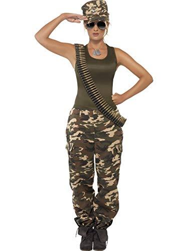 Halloweenia - Damen Frauen Camouflage Soldatin Söldnerin Kämpferin Kriegerinnen Kostüm mit Leibchen und Hose, perfekt für Karneval, Fasching und Fastnacht, S, Grün