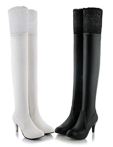 CU@EY Da donna-Stivaletti-Ufficio e lavoro / Formale / Casual-Stivali-A stiletto-Finta pelle-Nero / Bianco white-us4-4.5 / eu34 / uk2-2.5 / cn33