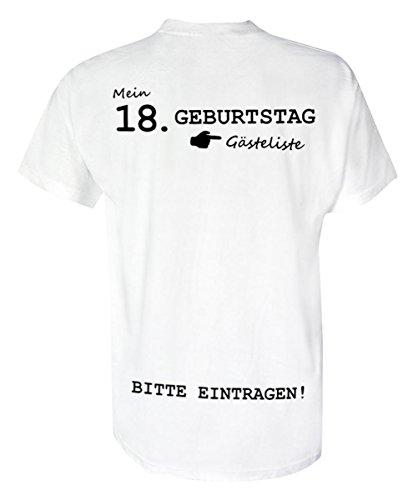 T-Shirt Geburtstag- Gästeliste 18 Jahre - Rundhals - Birthday, Geburtstagsgeschenk, Shirt | 100% Baumwolle | Unisex - T-Shirt | weiß (L) -