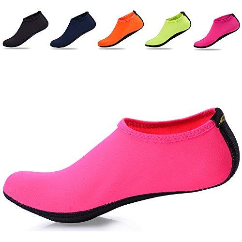 JACKSHIBO Erwachsene Barfuß Schuhe Weich Wassersport Schuhe Damen Schwimmschuhe Surfschuhe Badeschuhe Rose