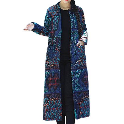 SEWORLD Winterjacke Steppjacke Mantel Damen Heißer Einzigartiges Design Folk-Custom Drucken Buttons Baumwolle Outwear Warme Lange Dicke Jacke Parka(X1-blau,EU:42-44/CN:2XL)