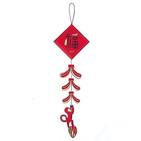 FUN II Nouvel An Chinois Enveloppe Rouge - Pétard Distique Singe Enveloppe Cadeau, Décoration Murale, Carte d'invitation, Carte de Voeux