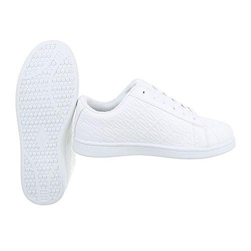 Ital-Design Sneakers Low Damenschuhe Sneakers Low Sneakers Schnürsenkel Freizeitschuhe Weiß G6103