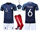 VOOA Maillots de Football Enfants de France Soccer Jersey 2018 Coupe du Monde France 2 Étoiles Football T-Shirt et Short Chaussettes (Bleu 6 Pogba, Tag24)...